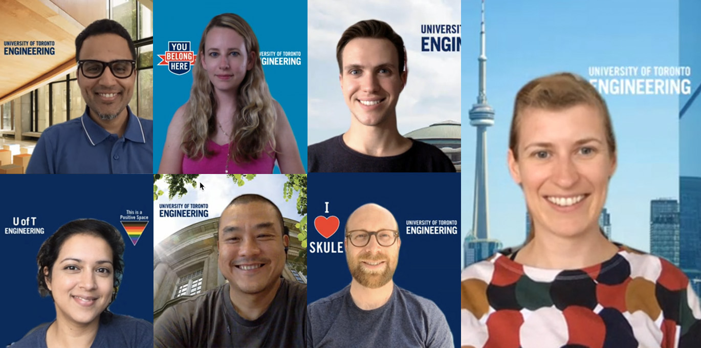 Composite photo of staff using U of T Engineering virtual backgrounds.