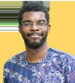 headshot of Philip Asare on yellow semi-circle background